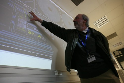 Physicist Frank Taylor of MIT shows us around the detector at CERN