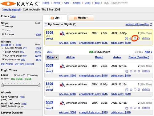 Kayak.com: ORK-AUS favorite