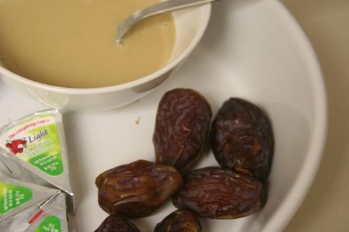 Medjool dates, tahini, laughing cow