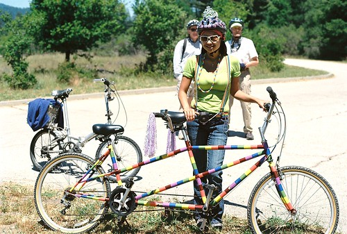 Lisa and her colorful tandem