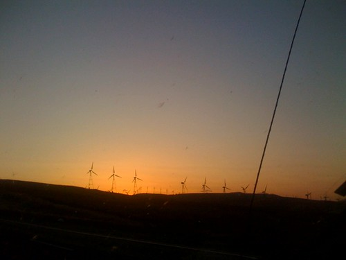 Wind farm ala sunset