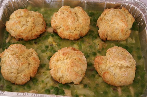 chicken pot pie with biscuits -- CAOK for a sick friend