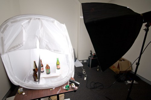 Behind the scenes on a beer bottle product shot