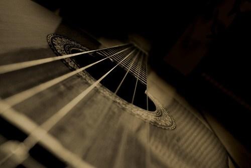 Acoustic guitar up close