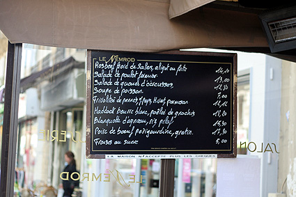 paris menu