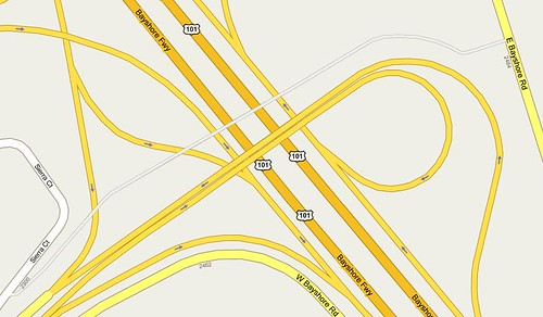 Palo Alto Oregon Expressway bike bridge on Google Maps