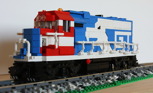 Peter Normans LEGO train with eagle logo