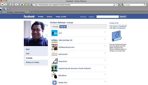 """Fan of"" Page on Facebook Lite"