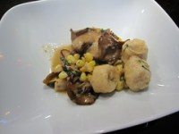 prelude to staplehouse - ricotta dumplings, hen of woods mushrooms, sweet corn, and basil