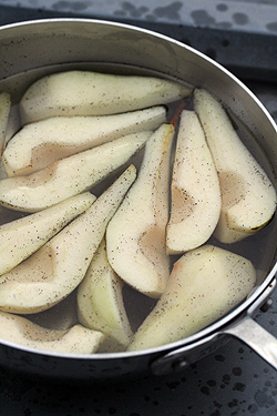 pears prepped for poaching