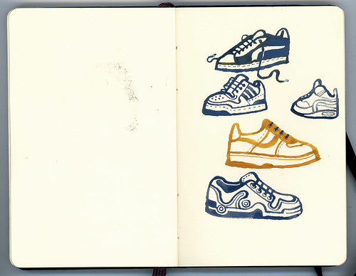 sketchbook and paint: sneakers