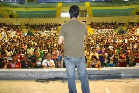 With thousands more still outside, Director Laurenti Dyogi gives instructions to the first batch of auditioners inside the GenSan Gym.  The screening is about to begin.
