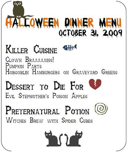 Halloween dinner menu - a photo on Flickriver