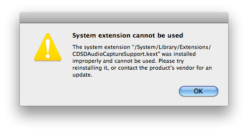 System Extension Cannot be used