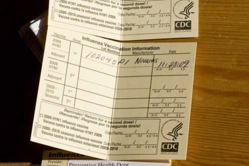 Swine flu H1N1 vaccination: vax cards