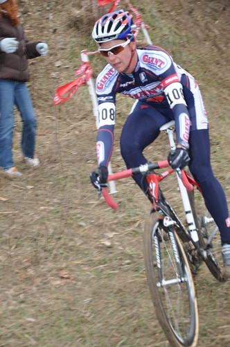 Meredith Miller (CalGiant/Specialized) is off solo at the front - photo c NikkiCyp