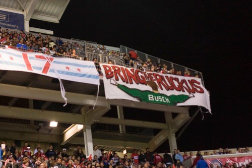 Banners we hung on the terrace