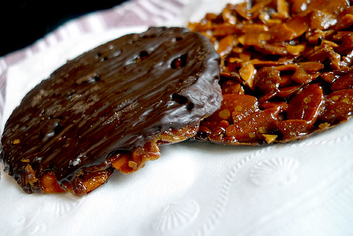 chocolate-covered florentines