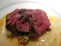 prelude to staplehouse - hanger steak with zucchini, heirloom tomatoes, brown butter, bacon, &amp; thyme jus