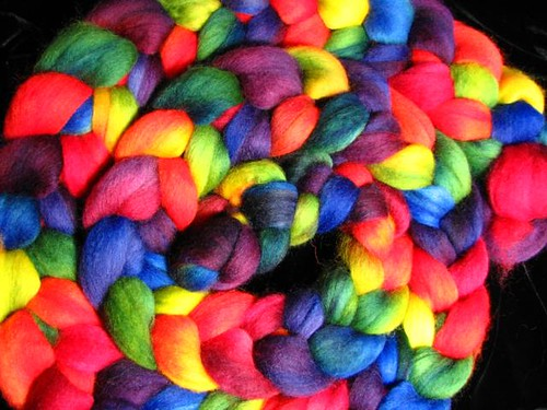 Deep Rainbow Hand Dyed Corriedale Top Roving