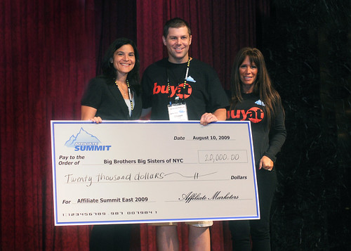 Donation to Big Brothers Big Sisters of NYC at Affiliate Summit East 2009