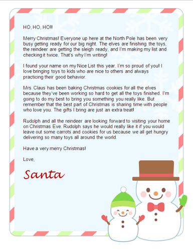 Free Christmas Letter from Santa - Free Santa Lettersnet Free