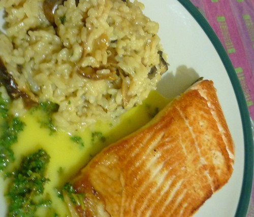 Mushroom Risotto and Panfried Salmon
