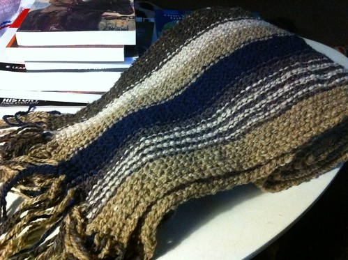 Striped garter-stitch length-wise scarf