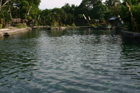 The Main Pool and deep portion of the kilometric Olaer Springs Resort.  Photo was shot from near the entrance of the resort.
