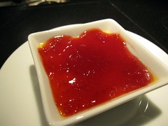 prelude to staplehouse - sweet corn custard with homemade strawberry jam
