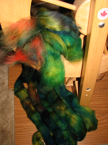 6 oz green/blue/yellow/red combed top