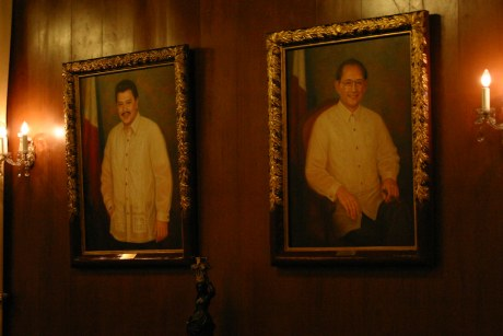 Paintings of former Presidents Estrada and Ramos side by side at the Gallery of Presidents.