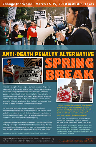 Poster for 2010 Anti Death Penalty Alternative Spring Break