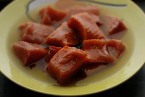 salmon soaking in oil