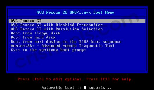 Program de curatat calculatorul de virusi   AVG Rescue CD