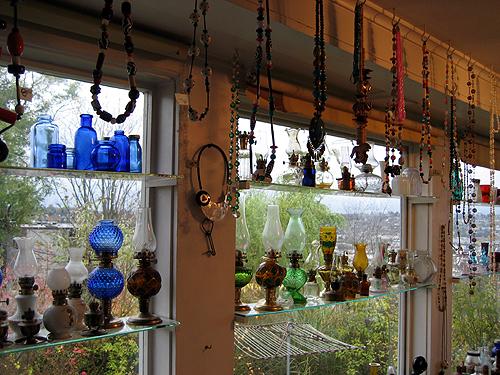Glass bottles, beads, lamps