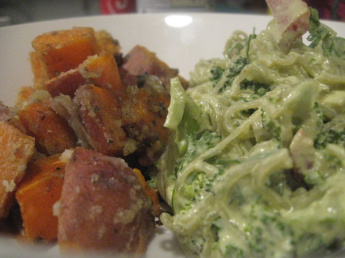 Coconut Creme Crusted Sweet Potatoes & Green Curried Kelp Noodles
