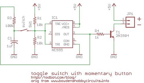 Momentary Button as On/Off Toggle using 555 \u2013 todbot blog