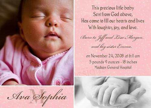 Photo Birth Announcement or Adoption Announcement -- Ava Sophia - a