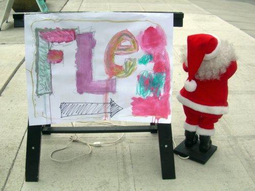 Flea Sign with Santa