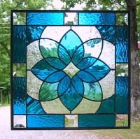 Aqua blue geometric stained glass panel   This beautiful ...
