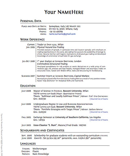 data architect cv francais