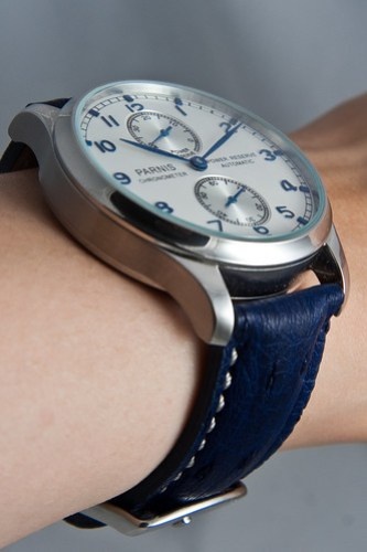 Parnis Power Reserve on blue ostrich wristshot #1