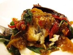 """David Thompson's Three Flavour Fish"": crispy lingcod with thai basil"