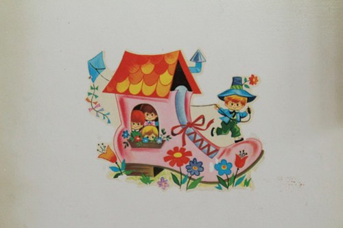 play kitchen, nursery rhyme detail, there was an old woman who lived in a shoe...