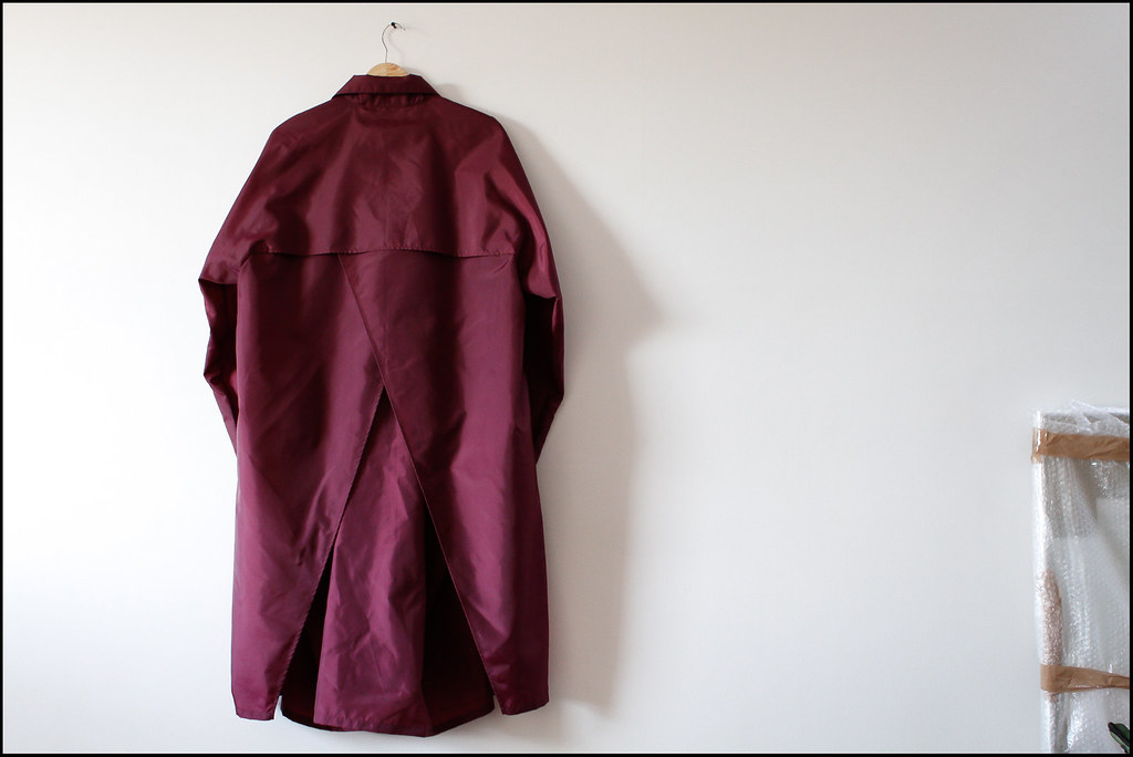"Tuukka13 - Antwerp, Belgium - Raf Simons Archive Sales Purchases - 04.2013 - ""Raf Simons Archives - Burgundy Raincoat with Inside Pocket"""