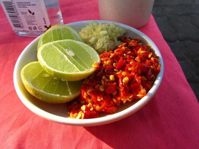 Laos hot pot condiments