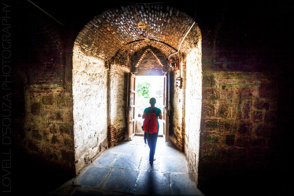 Priya exiting the Daitya Sudan Temple