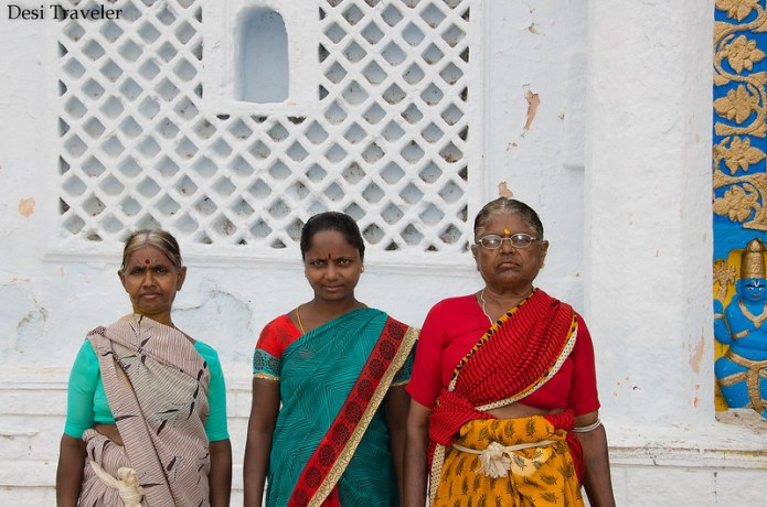 3 women in front of lord rama temple Ammapalli village