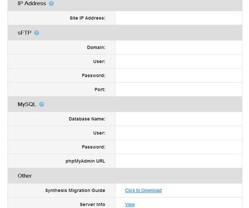 Synthesis Web Hosting dashboard